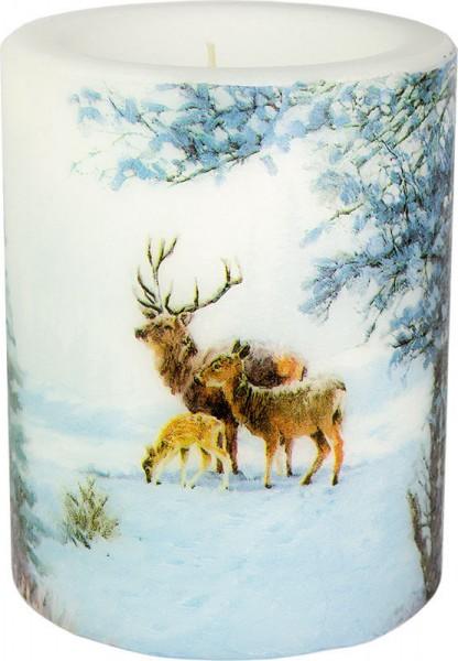 """Deer Family"" dänische Windlicht-Kerze groß 100h Ø10cm H12cm"