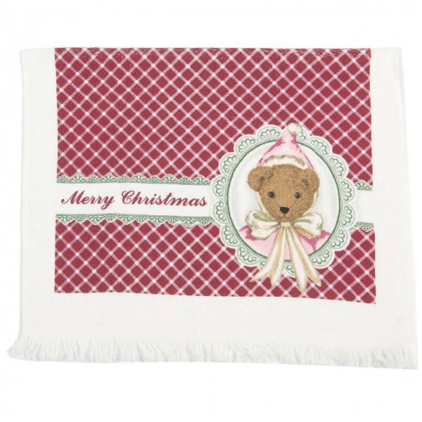 "Clayre & Eef Handtuch Gästehandtuch ""Christmas Teddy"" 40 x 60 cm"