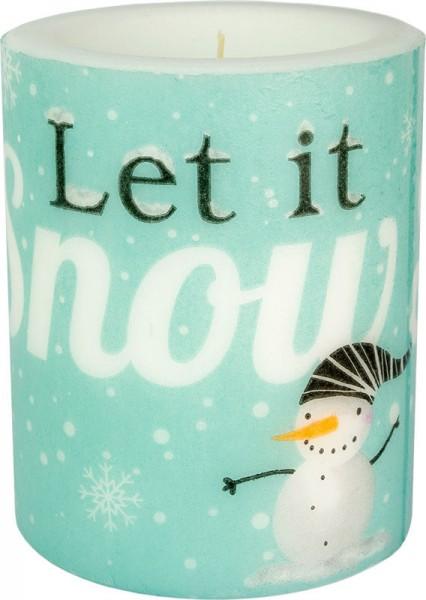 """""""Let it snow - mint"""" dänische Windlicht-Kerze groß 100h Ø10cm H12cm"""