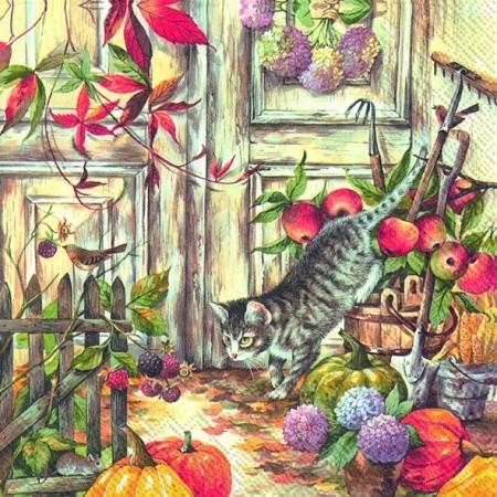 """IHR Lunch Servietten """"HUNTING CAT"""" 33 x 33 cm"""