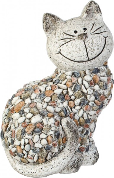 Gartenfigur Katze stehend STONES 32 x 18cm Magnesia Formano