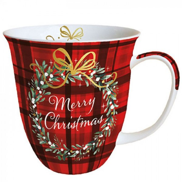 """Christmas Plaid Red"" Ambiente Fine Bone China Becher / Tasse 400ml"
