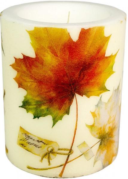"""Wachswindlicht-Kerze """"Blätter im Herbst"""" Größe XL 100h Ø10cm H12cm"""