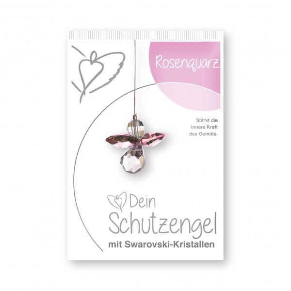 """""""Rosenquarz"""" Schutzengel mit echten Swarovski-Kristallen"""