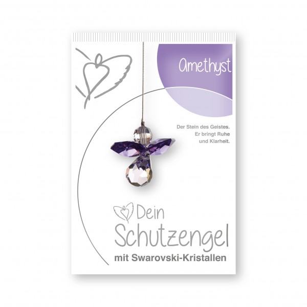"""""""Amethyst"""" Schutzengel mit echten Swarovski-Kristallen"""