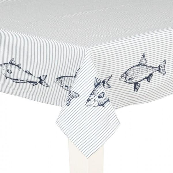 """Clayre & Eef Tischdecke """"Boat & Fish"""" 100 x 100 cm"""