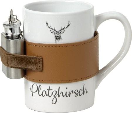 """Jägertasse mit Flachmann"" 275ml, 25ml Keramik Winter Wildlife"