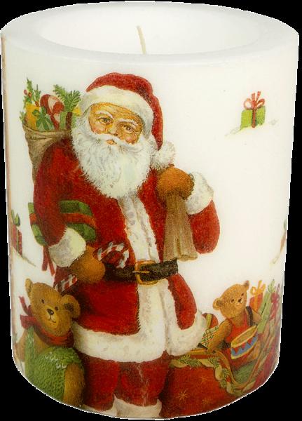 "Deko Windlicht-Kerze XL ""Santa and Teddy"" 100h Ø10cm H12cm"