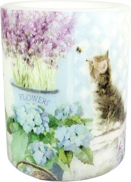 """Wachswindlicht-Kerze """"Cat and Flowers"""" Größe XL 100 h Ø10cm H12cm"""