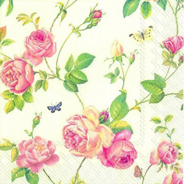 """IHR Lunch Servietten """"New Rambling Rose cream"""" 33 x 33 cm"""