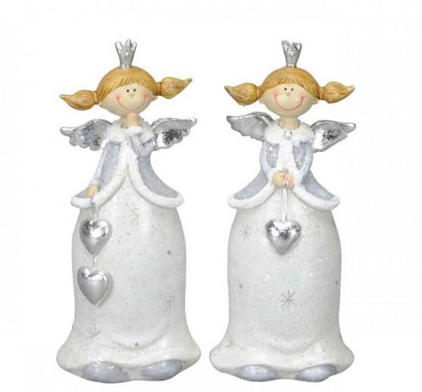 Engel mit Herz 2er Set grau/silber glitter 6,5 x 5 x H15cm