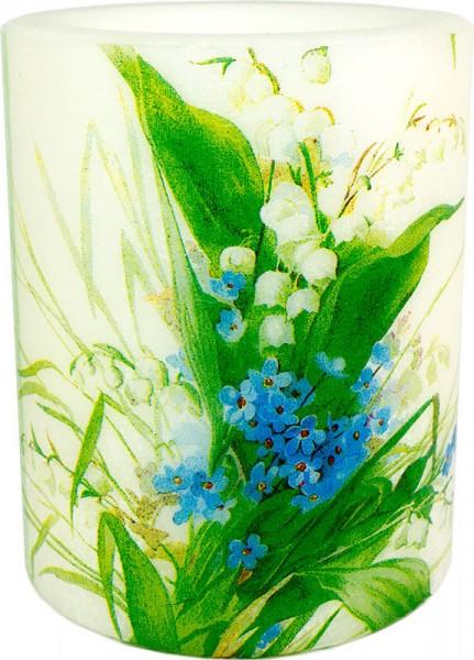 """Windlicht-Kerze """"Maiglöckchen blau/weiß"""" Größe XL 100 h Ø10cm H12cm"""
