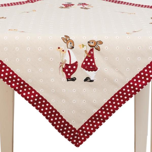 Clayre & Eef S003.001 Tischdecke - Ostern mit Hasen 85 x 85 cm