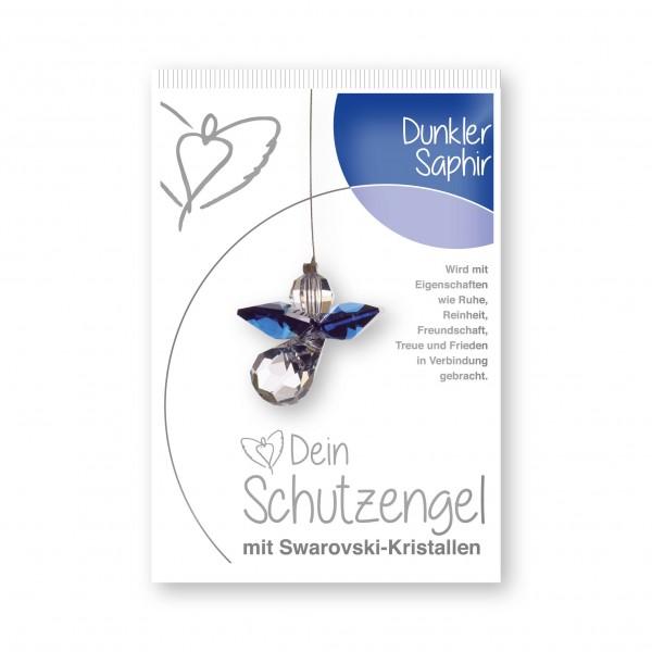 """""""dunkler Saphir"""" Schutzengel mit echten Swarovski-Kristallen"""