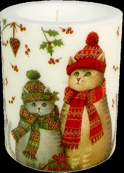 "Deko Windlicht-Kerze XL ""Christmas Cats"" 100h Ø10cm H12cm"