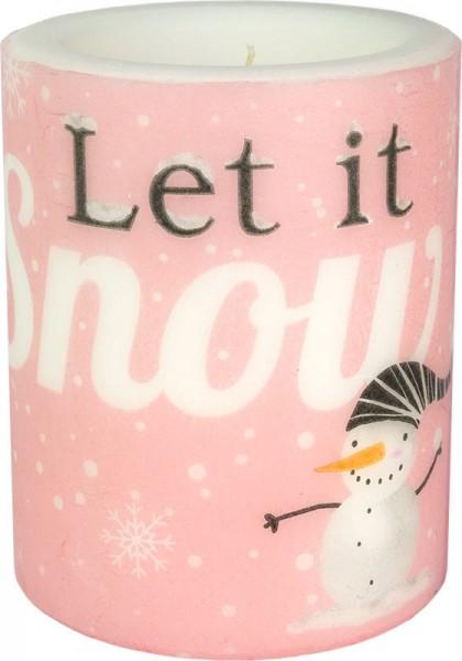 """""""Let it snow - pink"""" dänische Windlicht-Kerze groß 100h Ø10cm H12cm"""