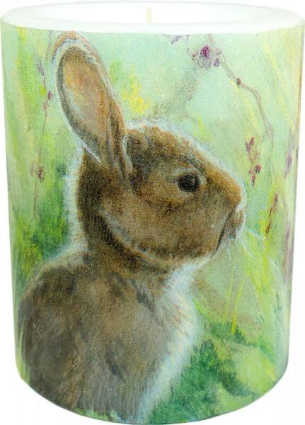 """Windlicht-Kerze """"Rabbit in the Meadow"""" Größe XL 100 h Ø10cm H12cm"""