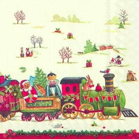 """IHR Cocktail Servietten """"CHRISTMAS TRAIN"""" 25 x 25 cm"""