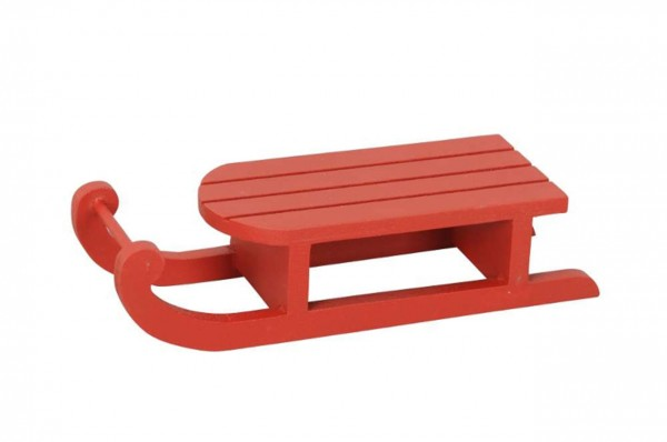 Schlitten rot, Holz 14 x 5 x H3,5cm