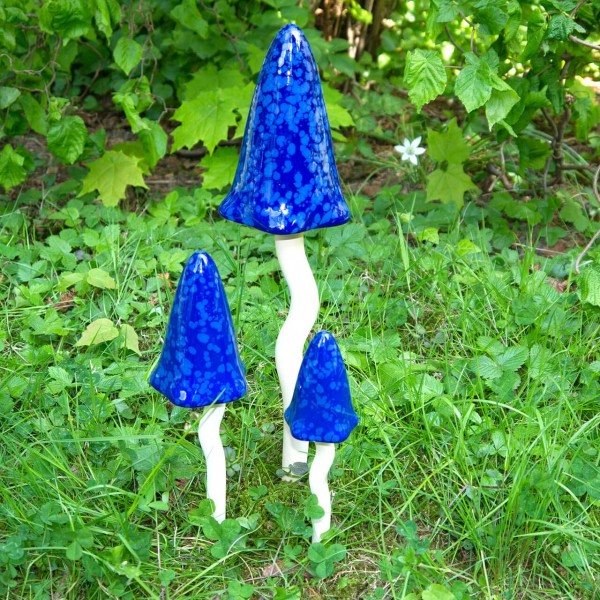 "dänische Klangpilze ""Asger blau"" Set 3 Stk. Größe 24/30/44 cm Keramik frostfest"