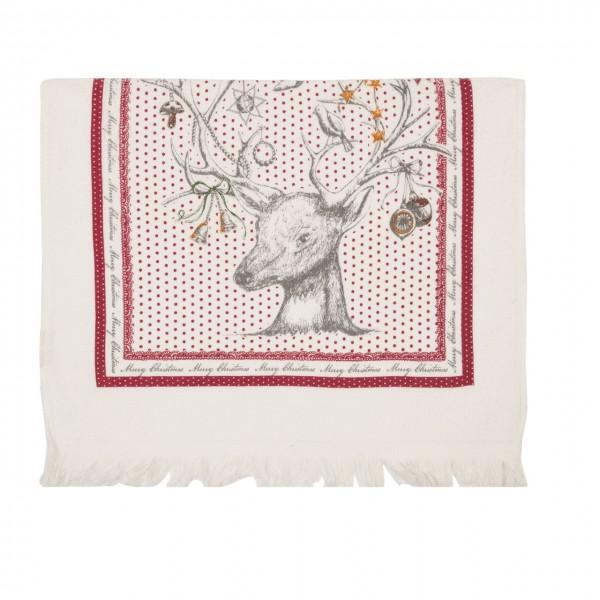 "Clayre & Eef Handtuch Gästehandtuch ""Merry Christmas"" 40 x 60 cm"
