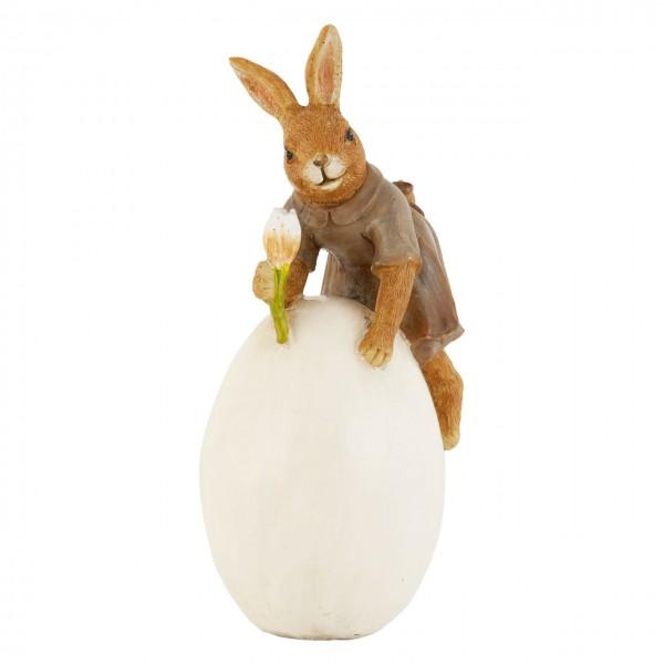 """Clayre & Eef 6PR0489 Figur """"Hase mit Ei und Blume"""" 17 cm"""