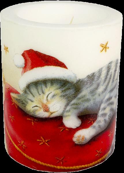 """Wachswindlicht-Kerze """"Santa Cat"""" Gröse XL 100h Ø10 cm H12 cm"""