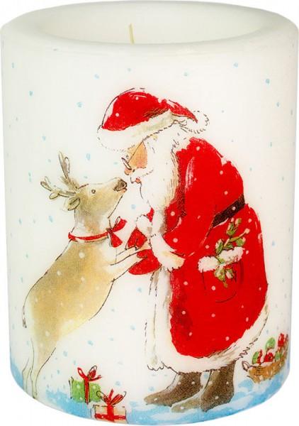 """""""Rudolf & Santa"""" dänische Windlicht-Kerze groß 100h Ø10cm H12cm"""