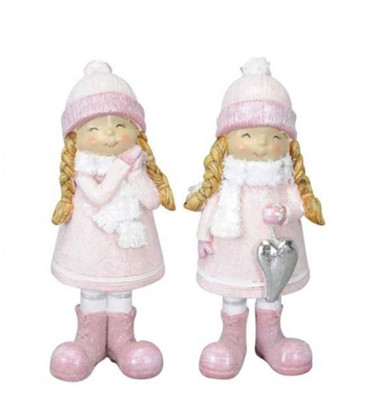 Winterkinder rosa 2er Set 6,5 x 4,5 x H13cm