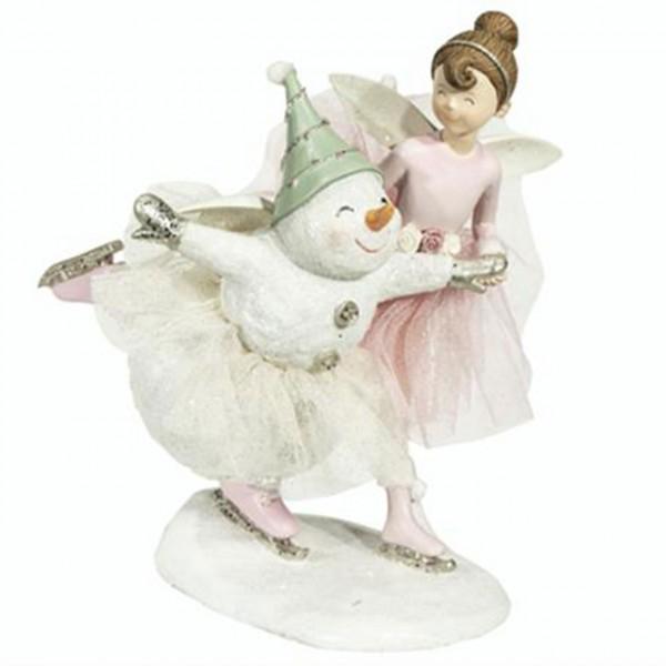 Tanzender Schneemann mit Elfe 18 x 23 x 18 cm