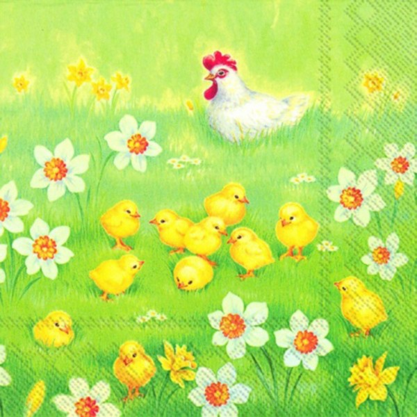 "IHR Lunch Servietten ""CHICKS GARDEN"" 33 x 33 cm"