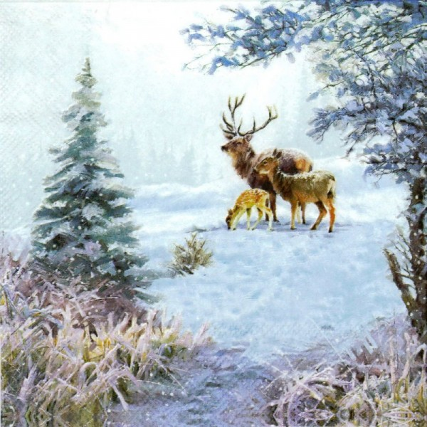 """Deer Famliy"" Lunch Servietten 33 x 33 cm"