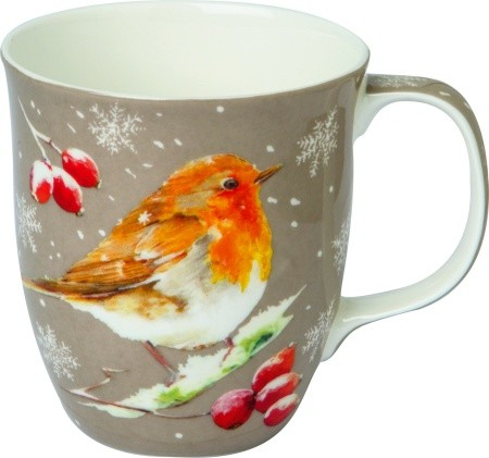 "IHR Bone China Country Becher ""WINTER ROBIN linen"" 375ml"