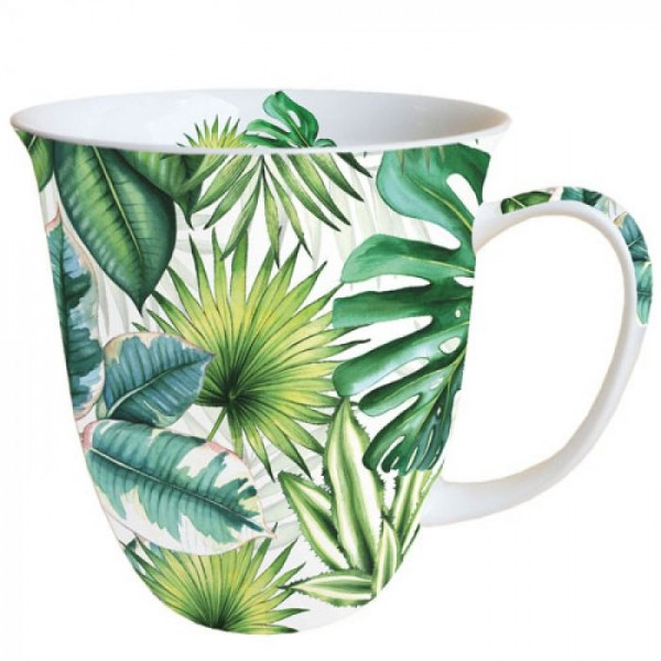 """Tropical Leaves"" Ambiente Fine Bone China Becher 400ml"