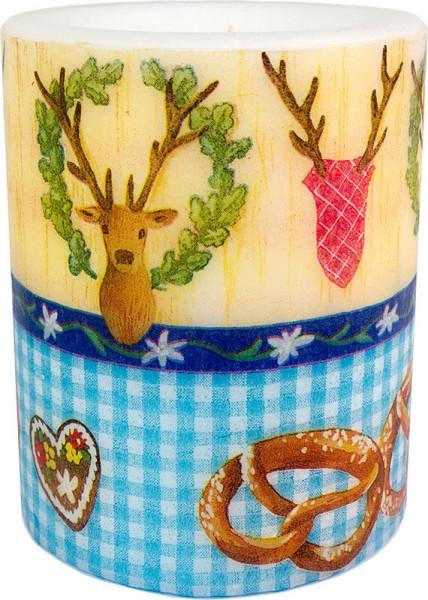 """Oktoberfest"" Fest-Windlich-Kerze groß 100 h Ø10cm H12cm"