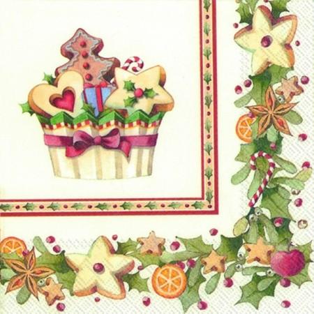"""IHR Cocktail Servietten """"CHRISTMAS BAKERY CUPCAKE"""" 25 x 25 cm"""