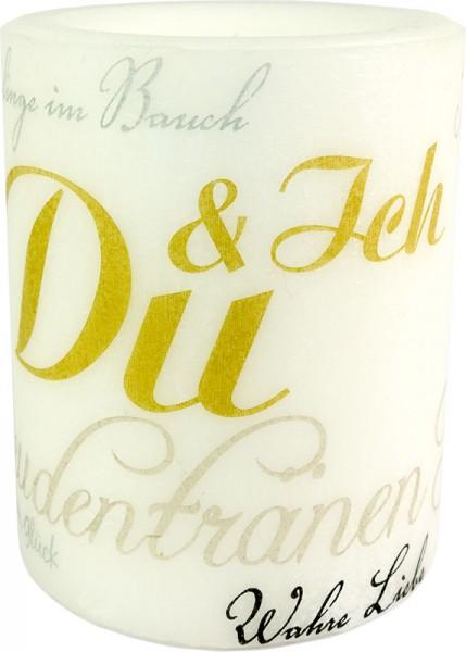 """Hochzeitskerze """"DU UND ICH"""" Größe XL 100 h Ø10cm H12cm"""