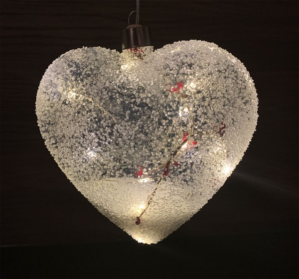 "Herz ""Beeren"" Glas, frosted LED mit Timer 15 x 5 x H14cm"