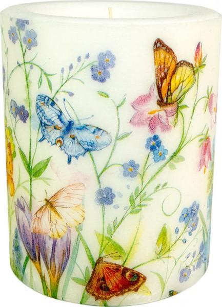 """Wachswindlicht-Kerze """"Butterflies and Blossoms"""""""