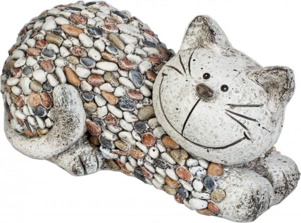 Gartenfigur Katze liegend STONES 32 x 18cm Magnesia Formano
