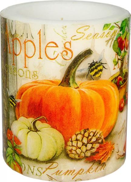 """Apples & Pumpkin"" dänische Windlicht-Kerze groß 100h Ø10cm H12cm"