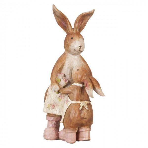 "Clayre & Eef 62221 Figur ""Hasenmama mit Kind"" 9 x 13 x 22 cm"