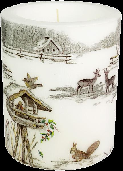"""Wachswindlicht-Kerze """"Snowy Garden"""" Gröse XL 100h Ø10 cm H12 cm"""