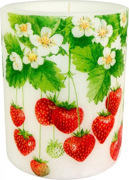 "Windlicht-Kerze ""Erdbeeren"" Größe"