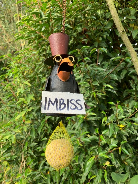 """Rabe """"Imbiss"""" groß 18cm mit Kette ca. 20cm und Meisenknödel"""