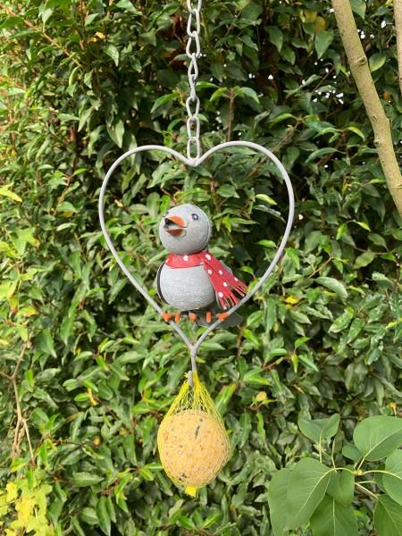 Vogel im Herz Chabby-grau 16cm mit 25cm Kette und Meisenknödel