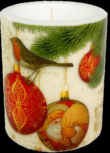 """Wachswindlicht-Kerze """"Christmas Baubles"""" Gröse XL 100h Ø10 cm H12 cm"""