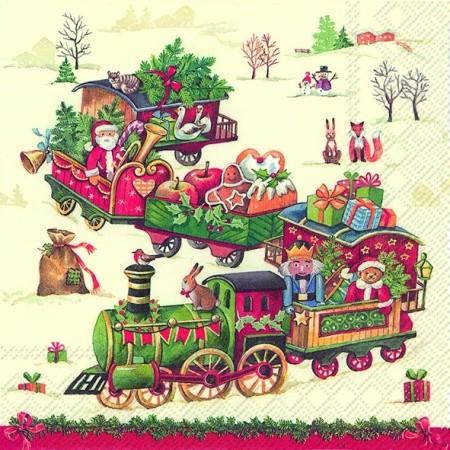 """IHR Lunch Servietten """"CHRISTMAS TRAIN"""" 33 x 33 cm"""