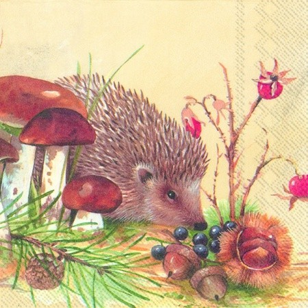 "Cocktail Servietten ""NOSY LITTLE HEDGEHOG"" 25 x 25 cm"