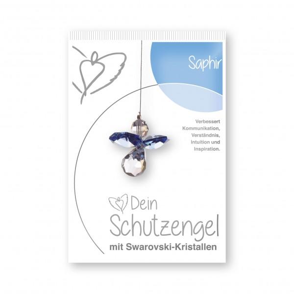 """""""Saphir"""" Schutzengel mit echten Swarovski-Kristallen"""